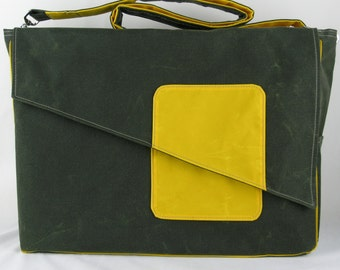 Waxed canvas Diaper Bag, Canvas Diaper Bag in Olive and Yellow