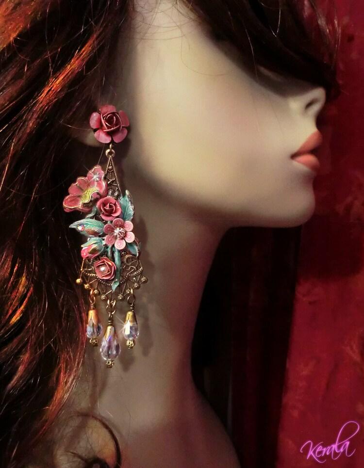 Blush Pink Long Floral Chandelier Earrings Feminine By Kerala