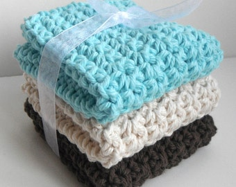 Crochet Dishcloths Washcloths - Set of 3 - For Kitchen, Bathroom, Baby - Aqua Blue, Cream, Brown - 100% Cotton