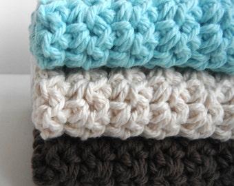 Crochet Dishcloths Washcloths - Set of 3 - For Kitchen, Bathroom, Baby - Aqua Blue, Cream, Brown - 100% Cotton