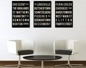 LOUISVILLE Poster - Subway Sign Typography Print- Living Room - Kentucky Art Decor - City Map - Gift - Modern Art Print -  Set of 3