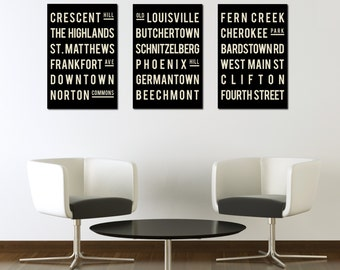 LOUISVILLE Poster - Subway Sign Typography Print- Living Room - Kentucky Art Decor - City Map - Gift - Modern Art Print -  Set of 3