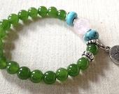 Tree of Life Charm Beaded Bracelet, Dark Green Jade, Turquoise, Rose Quartz, Gemstones, Jewelry