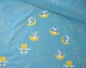 SALE - Japanese Fabric Cotton Yuwa - Rabbit and Moon Blue - LAST half yard