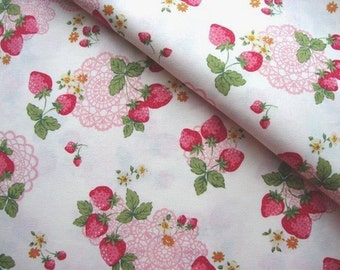 Japanese Fabric Cotton, Kokka Fabric, Shabby Chic Fabric, Strawberry Fabric, Floral Fabric, Quilting, Sewing Fabric/Lacy Strawberry/a yard