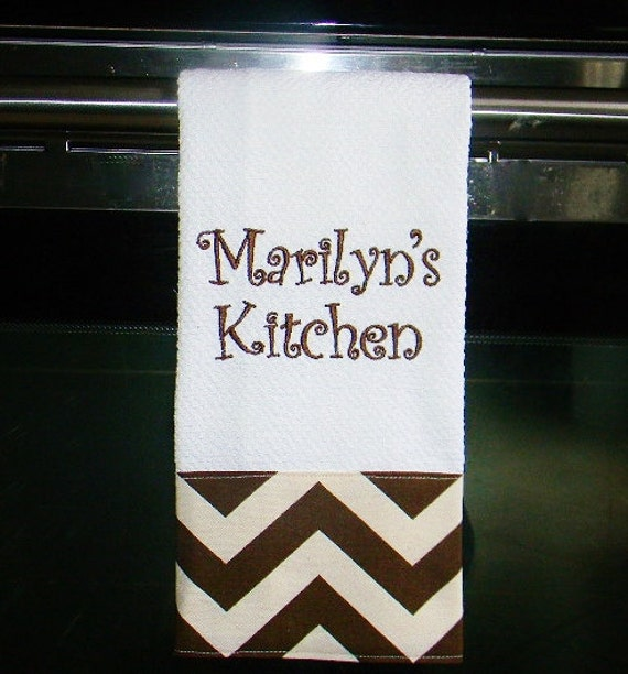 Monogrammed Kitchen Towel Or Hand Towel In Brown And Natural