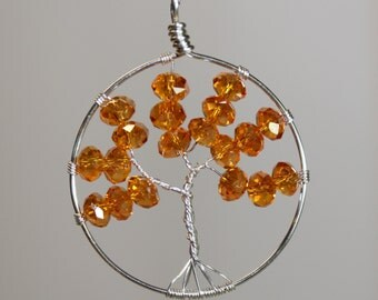 Orange Tree Of Life Crystal Beads Necklace Pendent Wire Wrapped