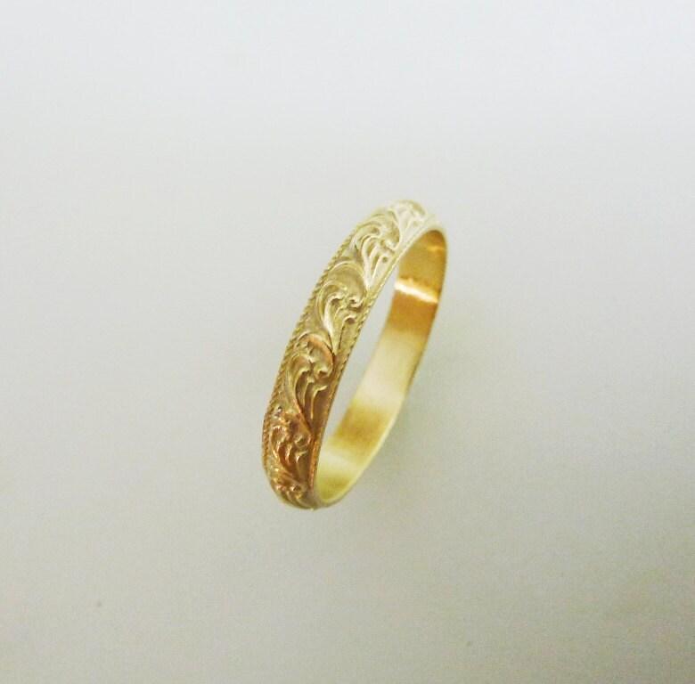 Wave Design Bands: 14K Yellow Gold Wedding Ring Wave Design Filigree Wedding