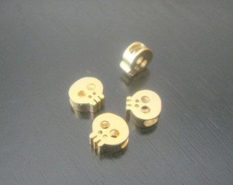 Matte Gold Tarnish Resistant mini Skull bead disk Connectors, Earring Findings, pendants, 2 pc BE111338