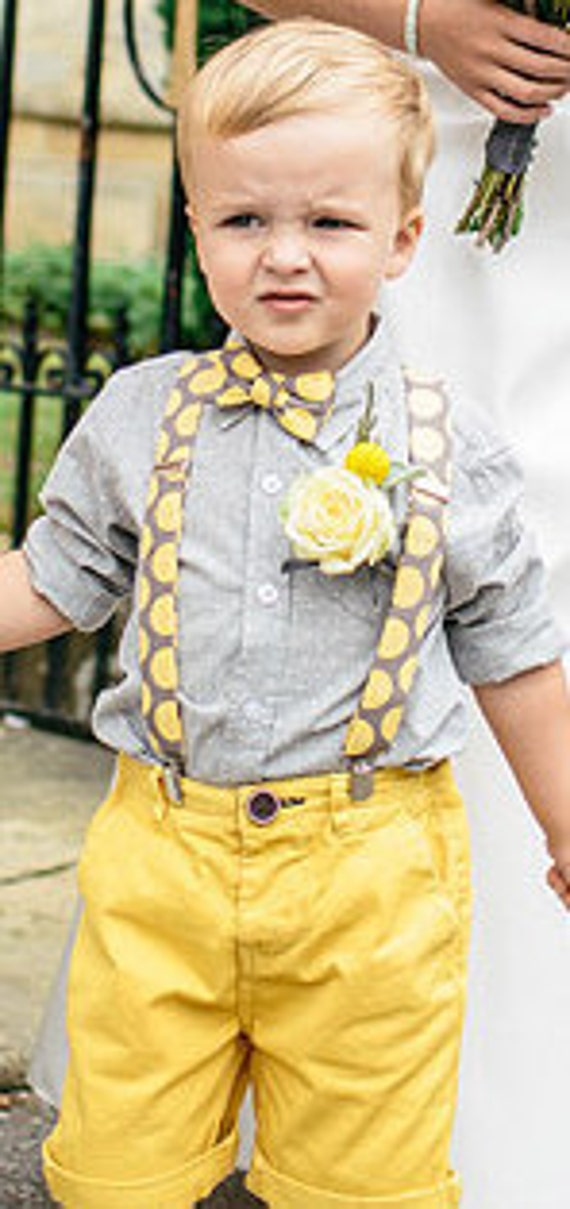 Bow tie and suspenders in yellow and gray retro dot - Clip on