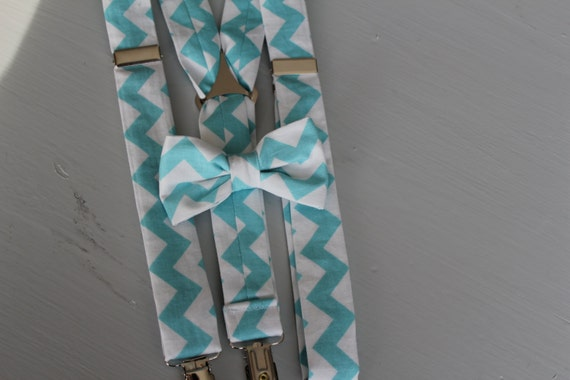 bow tie and Suspender set in Turquoise and White Chevron - ring bearer attire