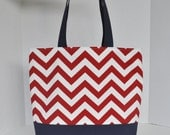 SALE Large Nautical Tote Beach Bag Red and White Zig Zag Chevron and Blue Canvas-Ready to Ship