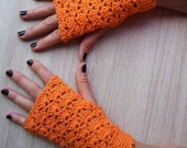 Crocheted cotton orange fingerless gloves or mittens or car gloves or mitts