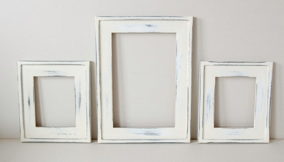 items similar to 3 beautiful distressed frames 2 8x10 chunky 1 11x14 chunky shabby chic distressed picture frames heirloom white or choose your colors