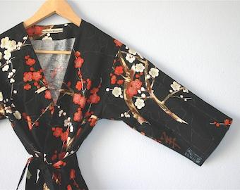 Kimono Robe. Kimono. Dressing Gown. Bridesmaid Robes. Golden Garden Black. Knee and Mid Calf Length. Small thru Plus Size Kimono 2XL.