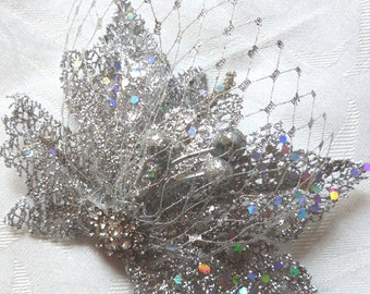 Silver Hair Fascinator holiday fascinator silver and gem wedding fascinator