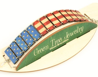 United States Of America Flag Bracelet #7516A - Laser Cut Wood - Made in USA
