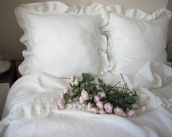 Shabby chic bedding Queen top sheet white or Ivory linen- Romantic  ruffle bedding