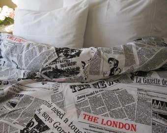 Writing Newspaper print duvet cover - Book bedding - Black white cotton quilt doona cover Twin XL FULL Queen King size bedding - NurdanCeyiz