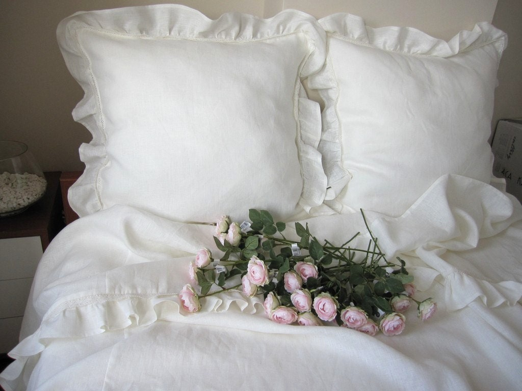 Shabby Chic Linen Pillows : Shabby chic bedding Queen top sheet white or Ivory linen