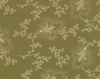 SALE 1 yard of Audra's Iris Garden Leaf Etched Light Green by Brannock and Patek for Moda