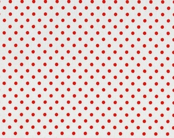 White with Red Dots from Crazy for Dots and Stripes by RJR Fabrics