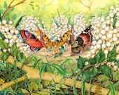 Three Fairies, 8x10 inch archival print, flower fairy fantasy art