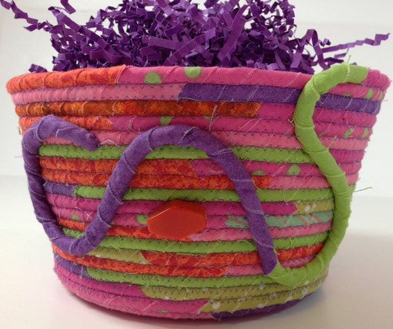 Easter Basket  Rope Coiled   Jelly Bean Colors  Upcycled Clothesline