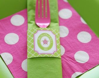 Preppy Turtle Collection: Printable Napkin Rings