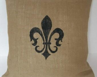 """One (1) Beige Fleur De Lis  Burlap Pillow Cover Made to Fit  18"""" x 18"""" Pillow"""