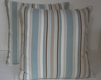 """Two (2) Decorative Blue, Cream and Beige Ticking Pillow Covers Made to Fit 16"""" x 16"""" Pillows"""