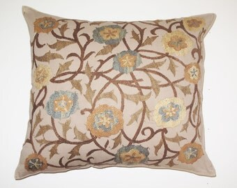 "Bukhara embroidery curling escapes of plants in soft colors. 18""5X18""5 inch"