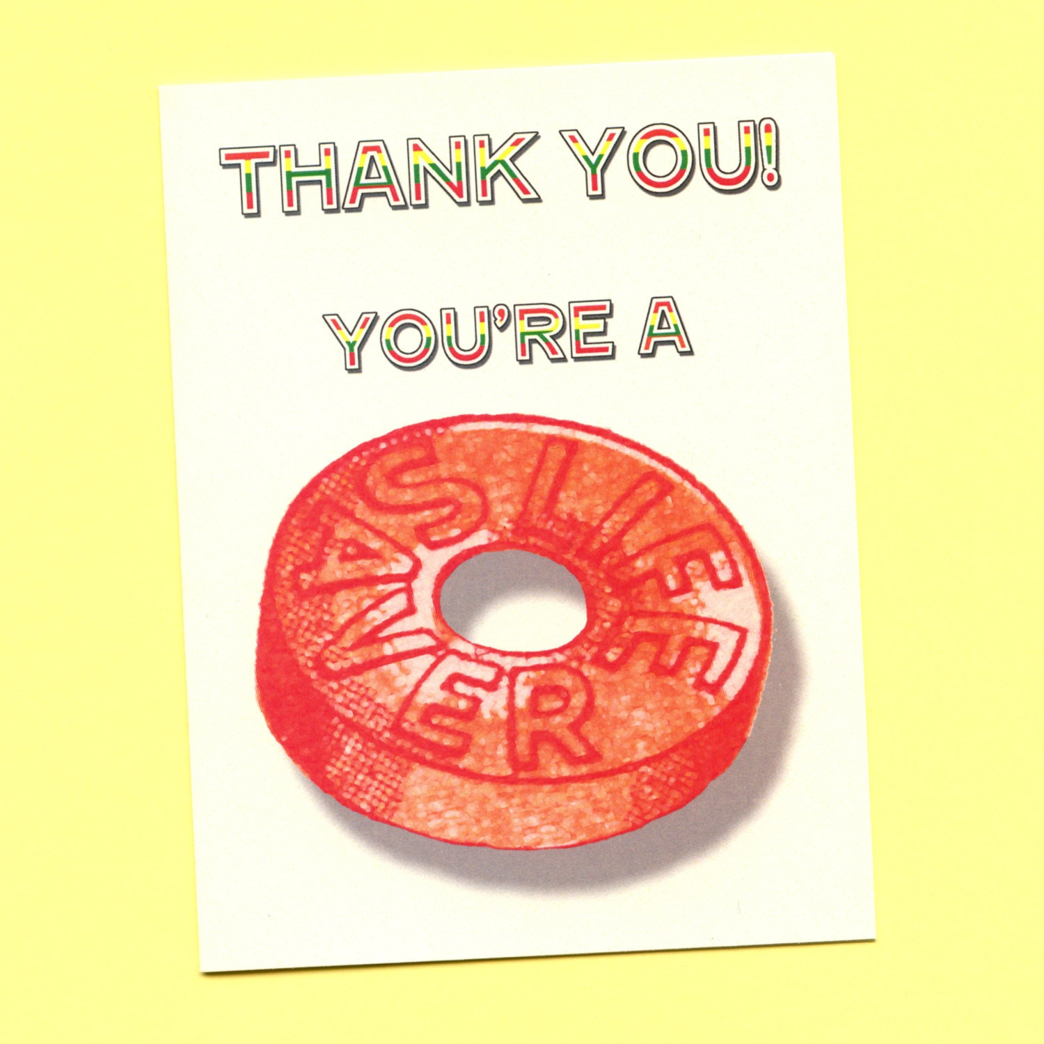 YOU ARE A LIFESAVER Thank You Card Funny Thank You Card