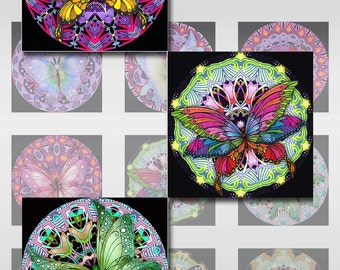 Butterfly Mandala Squares Instant Download Resin Glass Scrabble Tile Pendants Digital Image 1 and 2 Inch Collage Sheet JPEG (12-60)