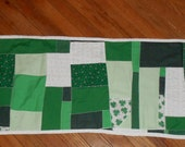 SALE, Whimsical Table Runner, St. Patrick's Day, Scrappy, Crazy Quilt, Reversible, OOAK, Very Unique, Not Perfect, Conversation Piece