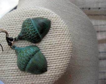 Antiqued Patina Acorn Earrings