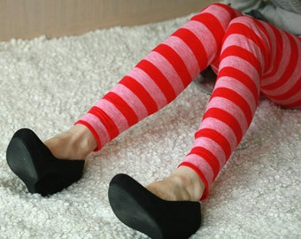 CLEARANCE SALE Red striped cotton leggings
