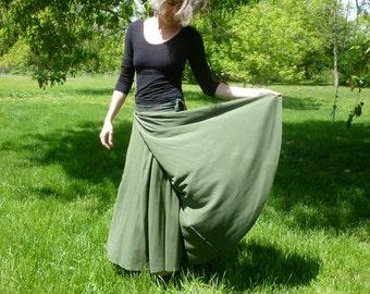 Organic Clothing Maxi Wrap Skirt Organic Cotton Womens Moss Olive Green Hippie Boho Nature Custom Handmade Clothing Organic Made to Order