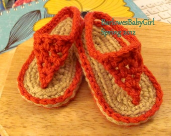Buggs - Crochet Red Coral Baby Flip Flop Sandals - Customize Your Color