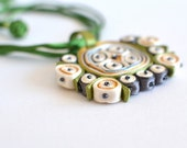 Necklace green white, fabric pendant green orange,statement necklace, Floral Design Collection - Textile jewelry OOAK ready to ship