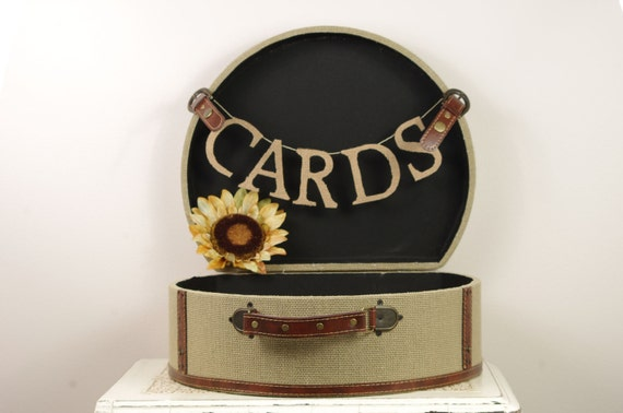 Burlap Card Box for Wedding - Trunk, travel style Card Box
