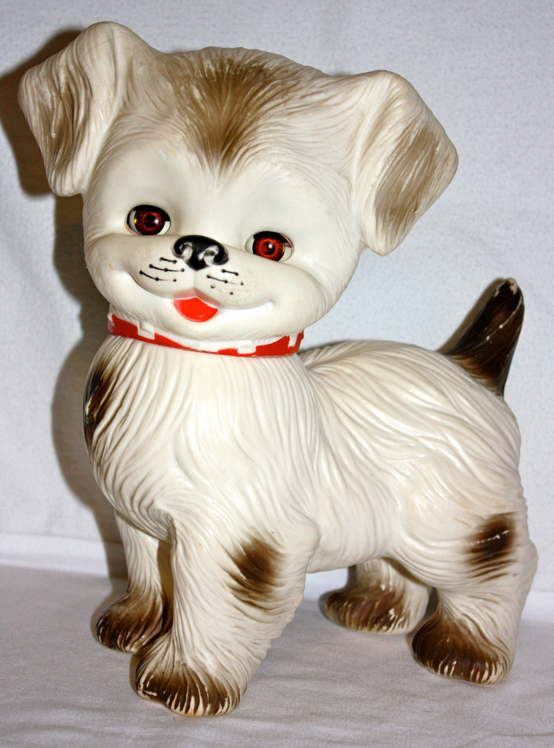 Vintage 1960s Alan Jay Plastic Squeak Toy Dog With Eyes Open