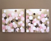 "Pink and Brown Nursery Art, Textured Flowers, Set of two 20x20"" Acrylic Paintings on Canvas"