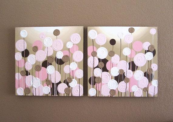 kinderzimmer kinderzimmer braun rosa pink and brown nursery art textured flowers by murraydesignshop
