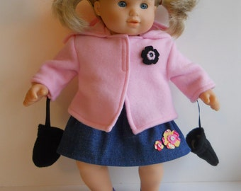 15 inch Doll Clothes fits Bitty Girl Twin, Fleece Jacket and Mittens