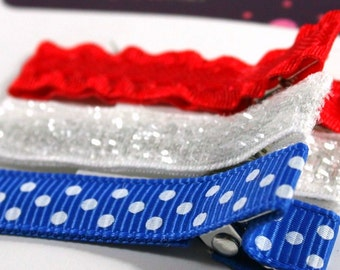 Lined Hair Clips:  Set of 3 in Patriotic Colors
