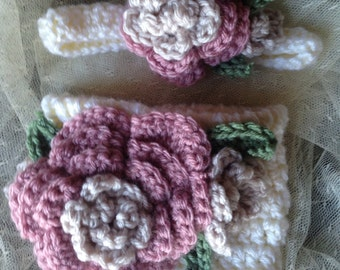 Flowered Diaper Cover and Headband Set
