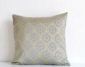 Metallic pillow, gold on silver gray silk throw pillow, Indian print on gray silk, gold cushion cover