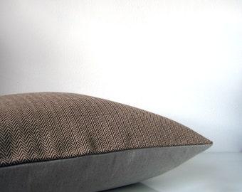 Modern throw pillow - caramel brown herringbone pillow with natural linen, organic cotton minimalist pillow