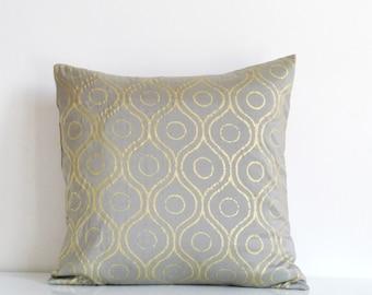 Silver gray silk throw pillow, gold metallic print on gray silk, gold cushion cover